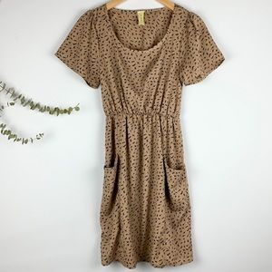 Bee Stitched Lightning Bolt Tan Dress w/ Pockets